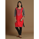 Red Cotton Embroider...