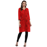 Anuswara Red Color Cotton Printed 3/4 Th Sleeve Round Neck Straight Kurti