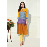 Anuswara Jaipuri Printed Casual Mustard Yellow Straight 3/4th Sleeve Kurti With Side Pocket