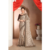 Craftsvilla Designer Beige Color Satin Saree