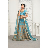 Craftsvilla Teal Blue Color Satin Embroidered Designer Lehenga