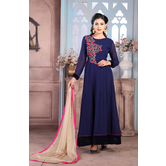 Craftsvilla Blue Color Georgette Embroidered Semi-stitched Circular Anarkali Suit