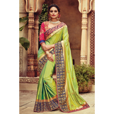 Craftsvilla Designer Green Color Silk Saree