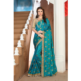 Craftsvilla Designer Green Silk Saree.