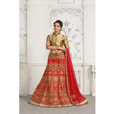 Craftsvilla Red Color Satin Embroidered Designer Lehenga