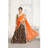 Craftsvilla Multicolor Satin Digitally Printed Designer Lehenga