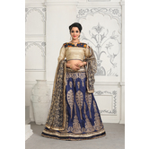 Craftsvilla Blue Color Satin Embroidered Designer Lehenga