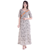 Anuswara Beige And Black Color Cotton Printed A Line Style Kurti