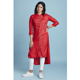 Red Rayon Plain Knee...