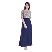 Anuswara Beige And Navy Color Rayon Printed A Line Style Kurti