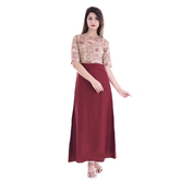 Anuswara Beige And Maroon Color Rayon Printed Ankle Length A Line Style Kurti