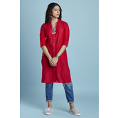 Red Plain Cotton Str...