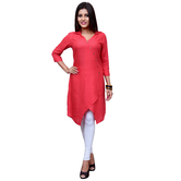 Anuswara Pink Color Rayon Plain Knee Length High Low Hem Kurti