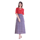 Anuswara Red And Blue Color Rayon Printed A Line Style Kurti
