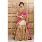 Sutva Designer Art Silk Beige Color Embellished Lehenga