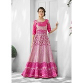 Craftsvilla Designer Art Silk Pink Color Embellished Lehenga