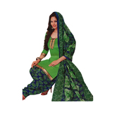 Craftsvilla Green Color Crepe Printed Unstitched Straight Suit