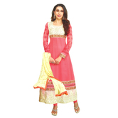Craftsvilla Pink Color Georgette Embroidered Circular Unstitched Anarkali Suit