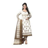 Craftsvilla Off White Color Crepe Printed Unstitched Straight Suit