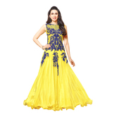 Craftsvilla Yellow Color Georgette Embroidered Circular Unstitched Anarkali Suit