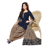 Craftsvilla Navy Color Cotton Printed Unstitched Straight Suit