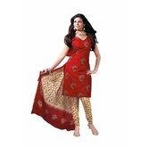 Craftsvilla Red Color Cotton Printed Unstitched Straight Suit