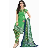 Craftsvilla Green Color Cotton Printed Unstitched Straight Suit