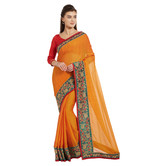 Craftsvilla Orange Color Chiffon Solid Designer Saree