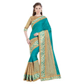 Craftsvilla Blue Color Silk Embellished Designer Saree