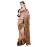 Craftsvilla Brown Color Silk Embellished Designer Saree