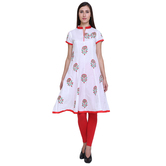 Anuswara White Cotton Cap Sleeve Frock Style Semi Anarkali Kurti
