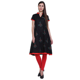 Anuswara Black Cotton Cap Sleeve Frock Style Semi Anarkali Kurti
