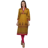 Anuswara Yellow Color With Beautiful Block Printed 3/4 Sleeve Kurti