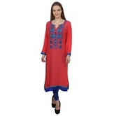 Anuswara Pink Color With Embroidery 3/4 Sleeve Kurti