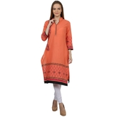 Anuswara Orange Color With Printed 3/4 Sleeve Kurti