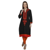 Anuswara Black Color With Embroidery 3/4 Sleeve Kurti