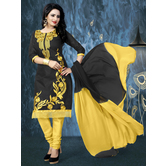 Craftsvilla Black Embroidered Cotton Salwar Suit With Matching Dupatta
