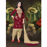 Craftsvilla Maroon Embroidered Cotton  Patiala Salwar Suit With Matching Dupatta