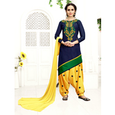 Craftsvilla Blue Color Cotton Embroidered High Low Hemline Semi-stitched Patiala Suit