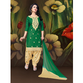 Craftsvilla Green Embroidered Cotton  Patiala Salwar Suit With Matching Dupatta
