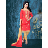 Craftsvilla Orange Embroidered Cotton Salwar Suit With Matching Dupatta