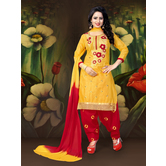 Craftsvilla Yellow Embroidered Cotton  Patiala Salwar Suit With Matching Dupatta