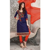 Craftsvilla Navy Color Cotton Embroidered Straight Suit