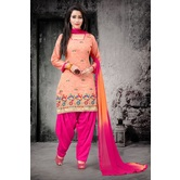 Craftsvilla Peach Color Chanderi Embroidered Unstitched Straight Suit