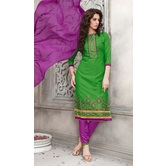 Craftsvilla Green Color Cotton Embroidered Straight Suit