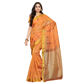 Craftsvilla Art Silk Orange Color Kanjivaram Saree