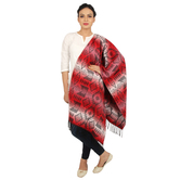 Anuswara Printed Red And White Color Woolen Shawl