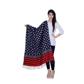 Anuswara Printed Blue And White Color Woolen Shawl