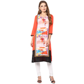 Anuswara Orange Color Rayon Printed Straight Kurti With Legging Set