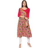 Craftsvilla Pink Color Printed Cotton Kurta With Legging Set